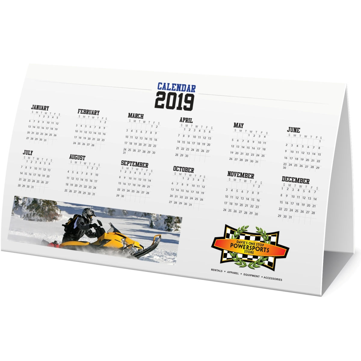 horizontal paper table tent calendar jay line